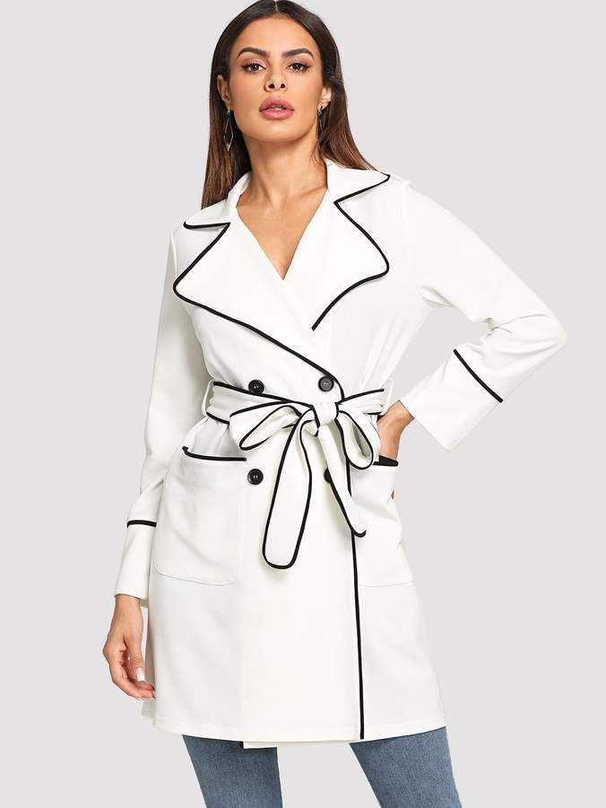 Shein Contrast Binding Pocket Front Trench Coat