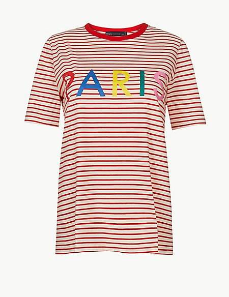 M&S Collection Pure Cotton Striped Paris Straight Fit T-Shirt