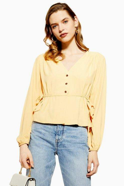 Topshop Womens Tie Side Blouse - Buttermilk