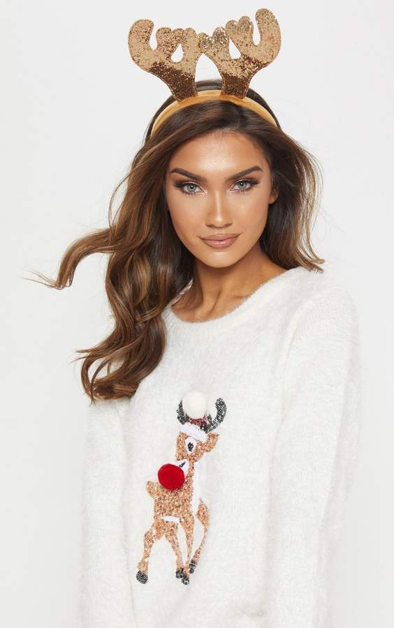 Cream Eyelash Sequin Reindeer Knitted Christmas Jumper