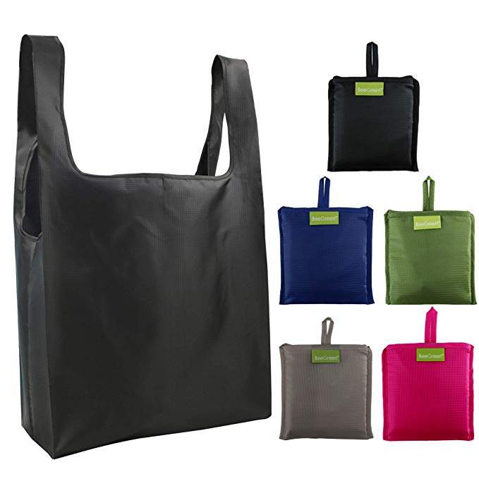 Reusable Bags Set of 5, Grocery Tote Foldable into Attached Pouch, Ripstop Polyester Reusable Shopping Bags, Washable, Durable and Lightweight (Black,Navy,Pink,Moss,gray)