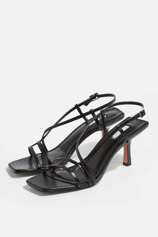 Topshop Womens Strippy Black Heeled Sandals - Black