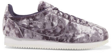 Nike - Classic Cortez Crushed-velvet Sneakers - Purple