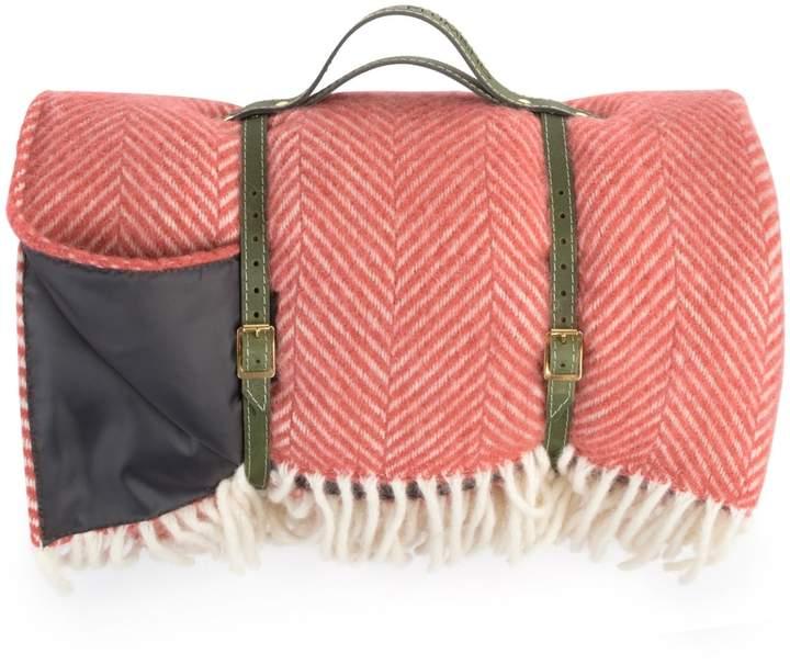 Heating & Plumbing London - Pure New Wool Waterproof Picnic Blanket Soft Cranberry Red