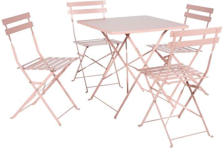 Parc Dusty Pink Metal Folding Garden Table And 4 Chairs
