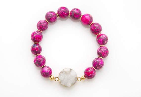 Pink Howlite Bracelet, Gemstone Bracelet, Druzy Bracelet, Statement Bracelet, Chunky Bracelet, Boho Bracelet, Natural Gemstone Bracelet