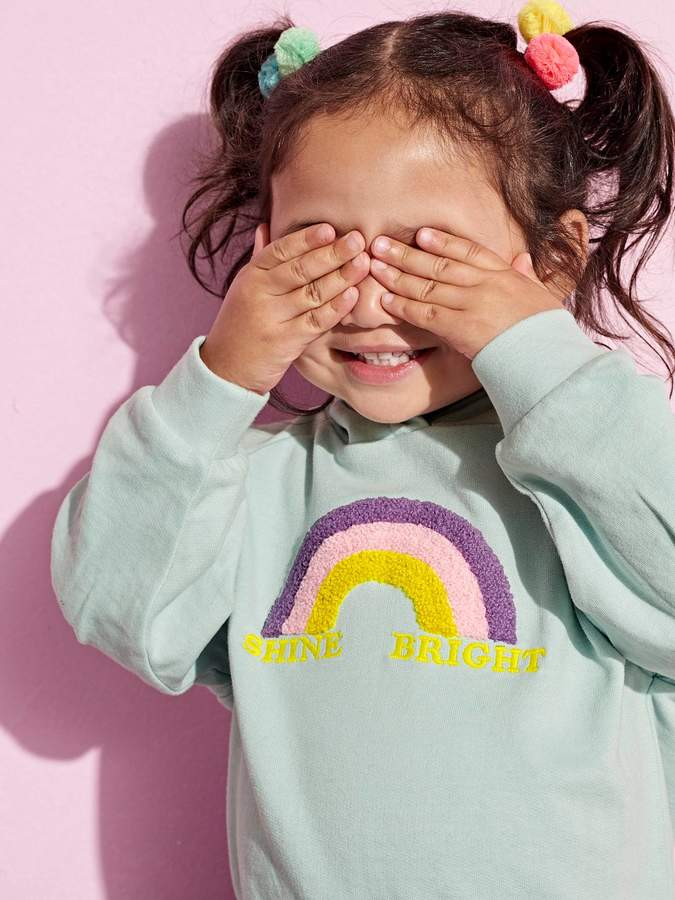 Vertbaudet Sweatshirt with Hood and Rainbow for Girls