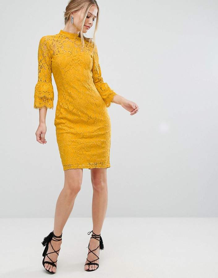 Paper Dolls High Neck Midi Lace Dress With Double Frill Sleeve