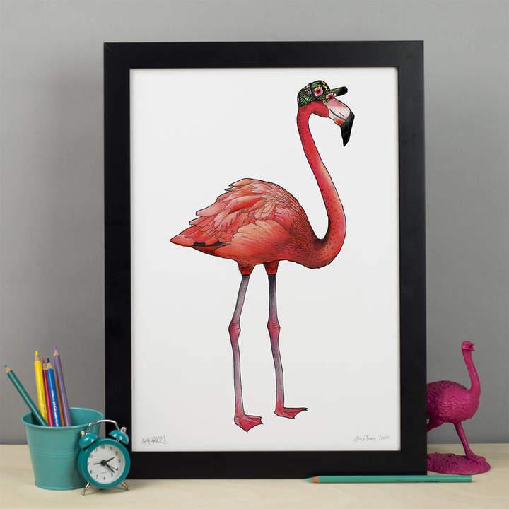 Birds in Hats Flamingo In A Tropical Baseball Cap Art Print