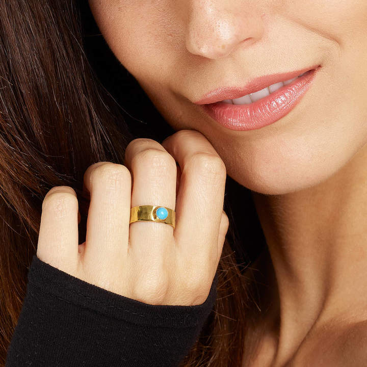 Yvonne Henderson Jewellery Gold Band Ring With Turquoise Stone