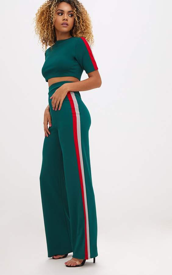 Emerald Green Sport Side Stripe Wide Leg Trousers