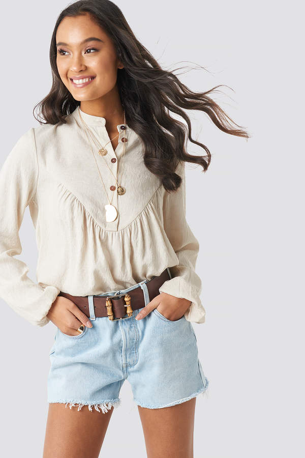 NA-KD Buttoned Gathered Blouse Beige
