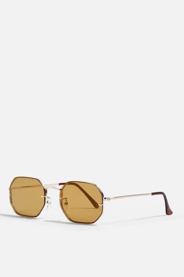 Topshop Womens Orange Rimless Hexagonal Sunglasses - Gold