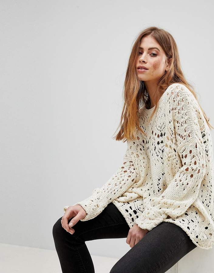 Free People Travelling Crochet Lace Jumper