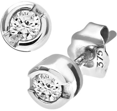 Mogul 9ct White Gold Diamond Round Stud Earrings, 0.15ct