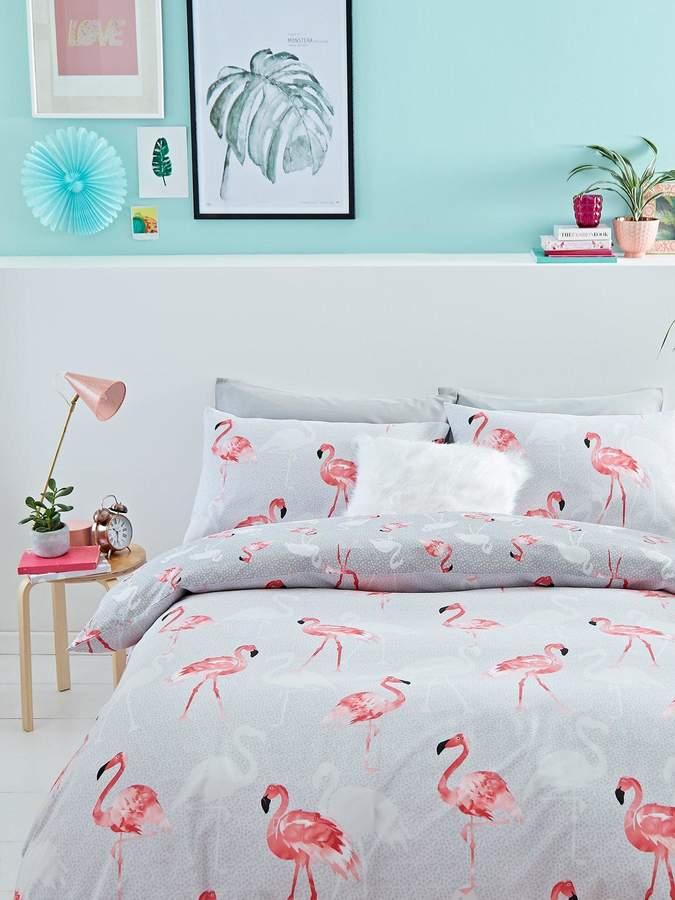 Catherine Lansfield Flamingos Cotton Rich Duvet Cover Set