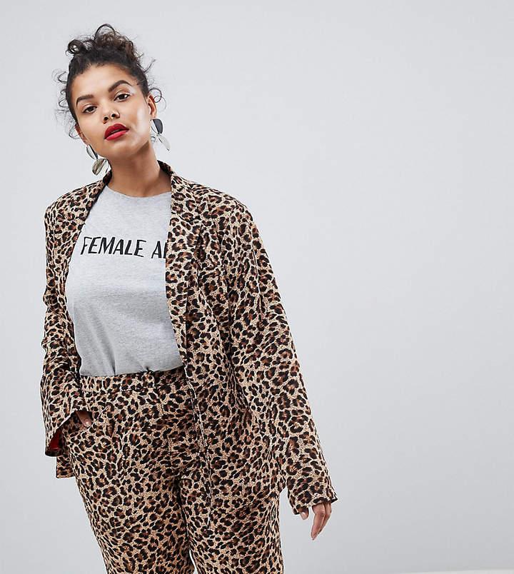 Unique 21 Hero Plus UNIQUE21 Hero Plus Boyfriend Fit Blazer In Leopard Print Co-Ord