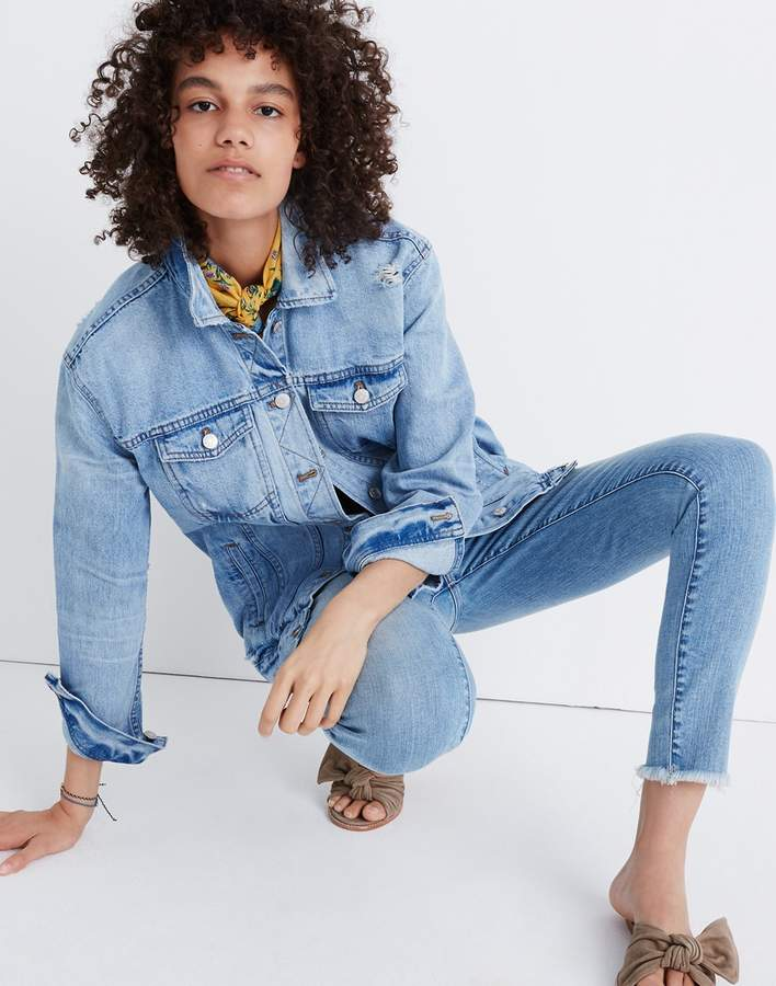 Madewell The Oversized Jean Jacket in Junction Wash: Distressed Edition