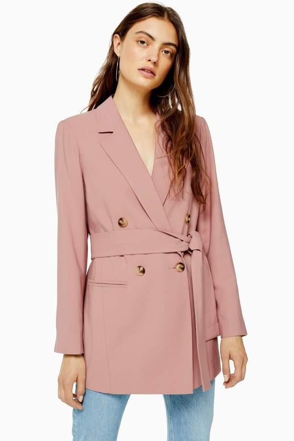 Topshop Womens Dusty Pink Belted Twill Blazer - Dusty Pink