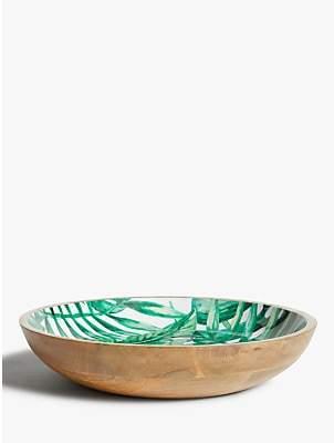 John Lewis & Partners Tropical Large Mango Wood Serving Bowl, 38cm, Natural/Green