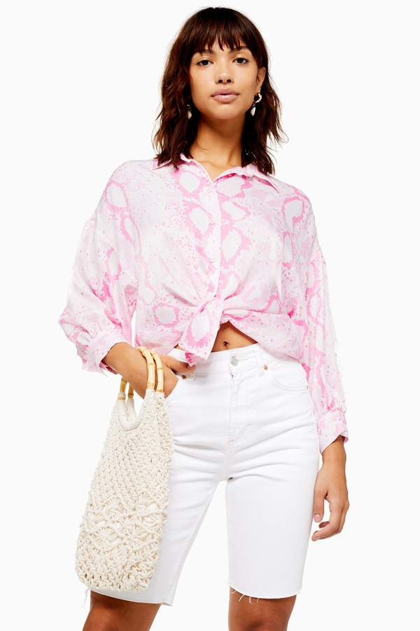 Topshop Womens Pink Snake Print Shirt - Pink