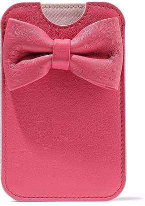 Red(V) Red(v) Bow-embellished Textured-leather Phone Case