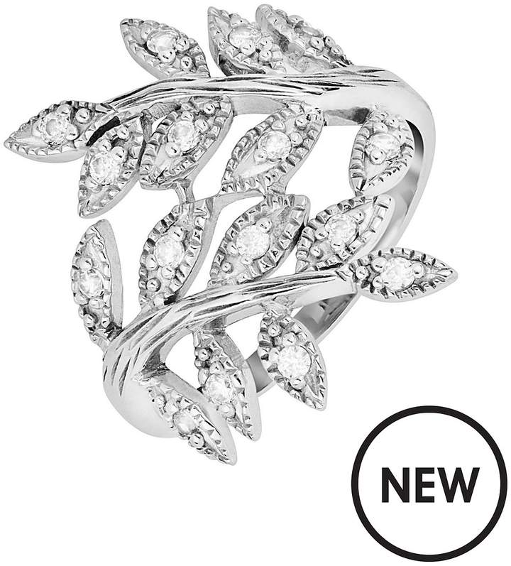 The Love Silver Collection Sterling Silver & Cubic Zirconia Olive Leaf Ring