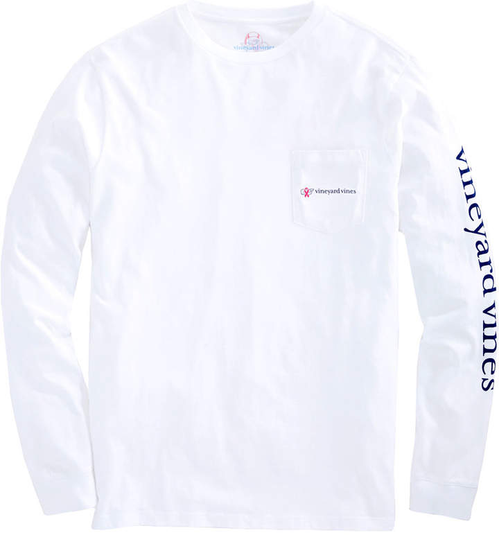 Vineyard Vines Mens Long-Sleeve Breast Cancer Awareness Logo T-Shirt