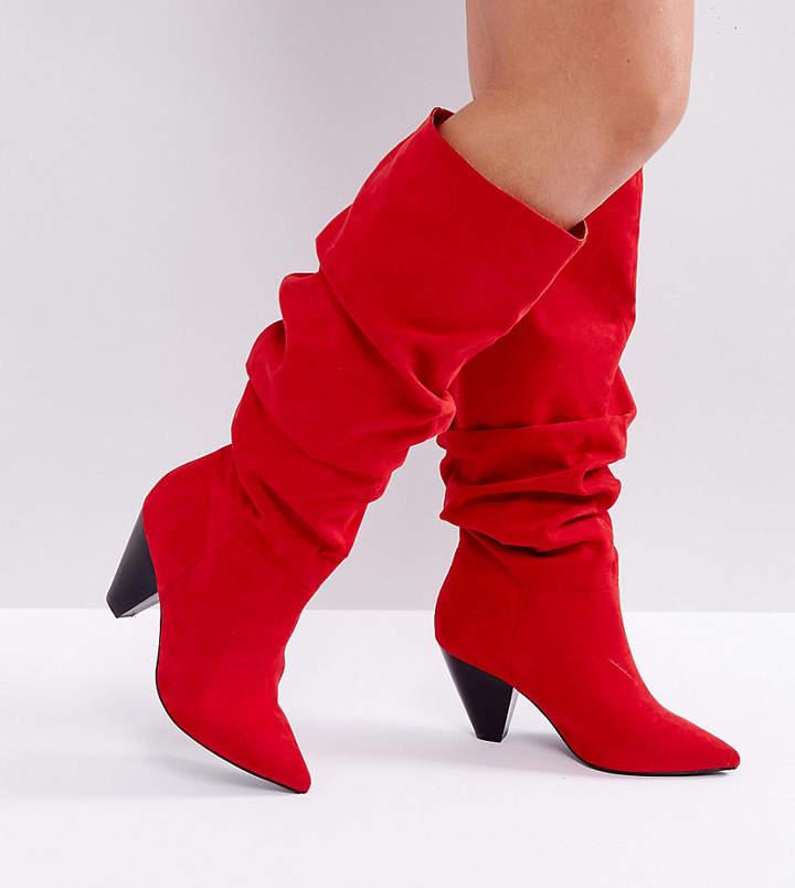 ASOS DESIGN ASOS CADET Wide Fit Slouch Knee Boots