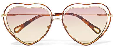 Chloé - Poppy Love Heart-shaped Acetate And Gold-tone Sunglasses - Pink