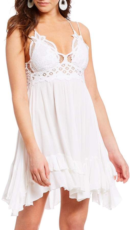 Free People Adella Lace Slip Ruffle Asymettric Hem Spaghetti Strap Flounce Mini Dress