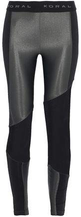 Koral Mesh-Paneled Coated And Stretch-Jersey Leggings