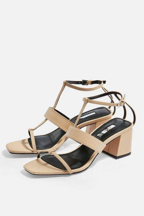 Topshop Womens Ribbon T-Bar Sandals - Nude