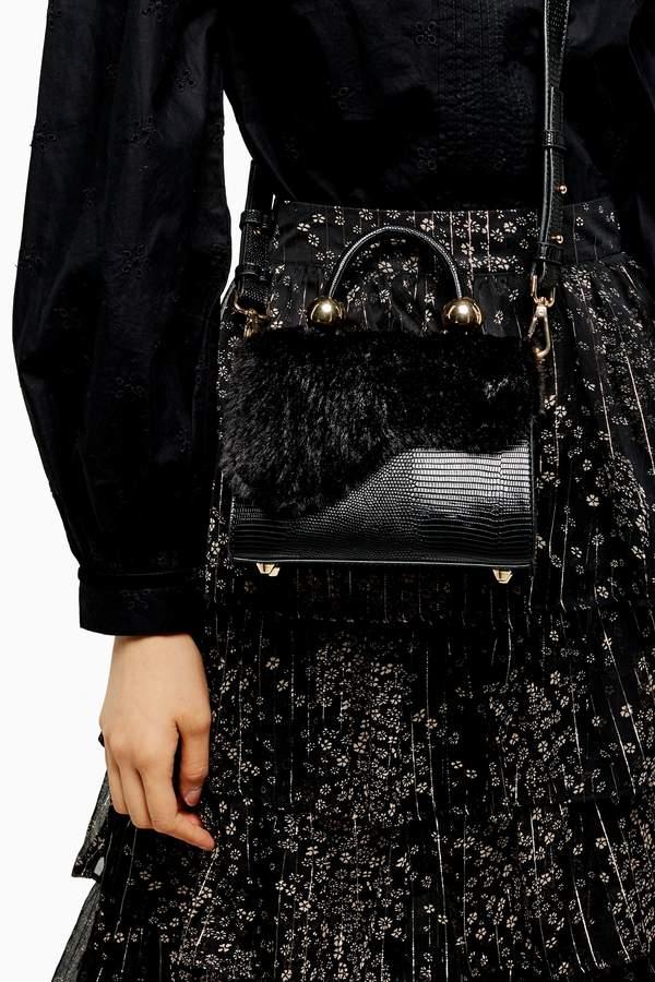Topshop Womens Carmen Faux Fur Cross Body Bag - Black