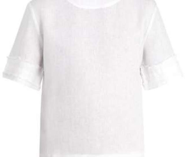 Com  C B Hecho Fringed Linen T Shirt Mens White