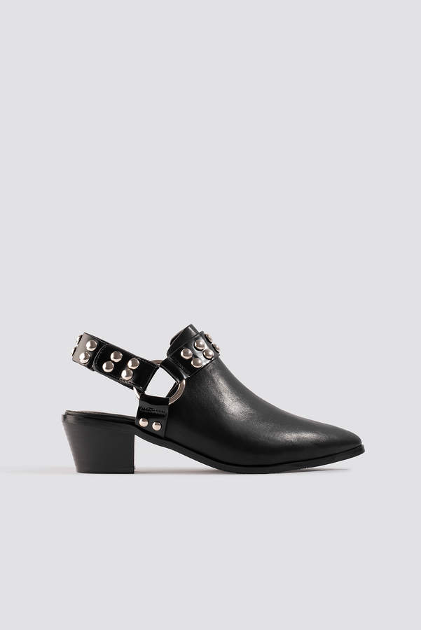 NA-KD Cut Out Cowboy Ankle Boots Black