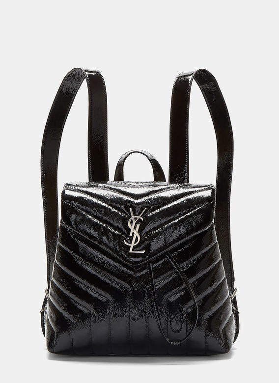 Saint Laurent Small Lou Monogram Matelassé Patent Backpack in Black