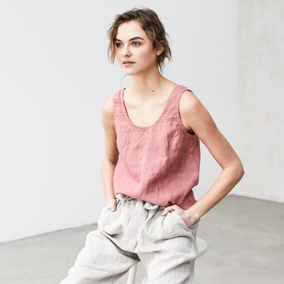 Linen tank top PORTO/ basic linen blouse available in 34 colors