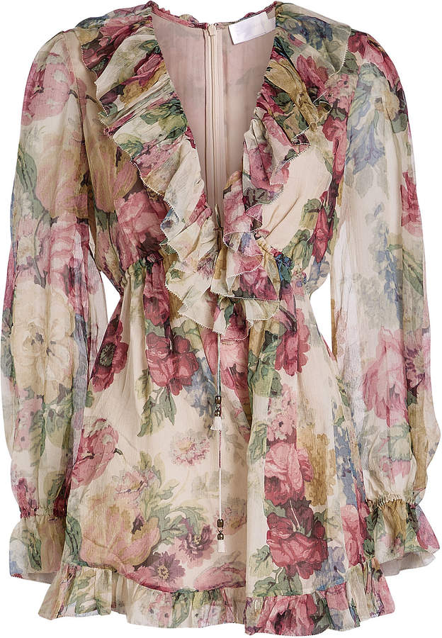 Zimmermann Melody Floating Silk Chiffon Playsuit