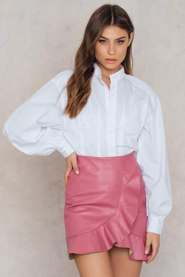Boohoo Ruffle Wrap Front Skirt Pink