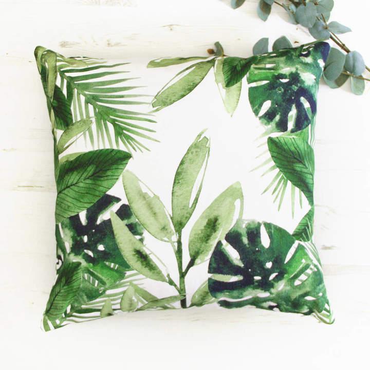 Emodi Palm Leaves Tropical Green Cushion