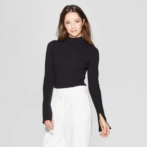 Prologue Women's Long Sleeve Ribbed Turtle Neck Sweater - Prologue Black