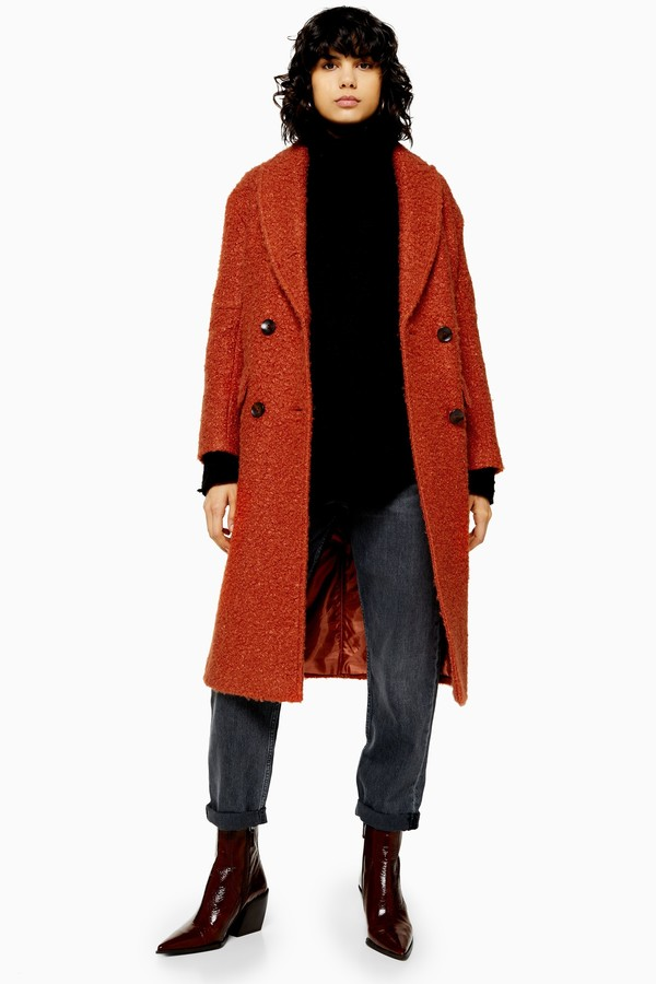 Topshop Womens Rust Boucle Double Breasted Coat - Rust