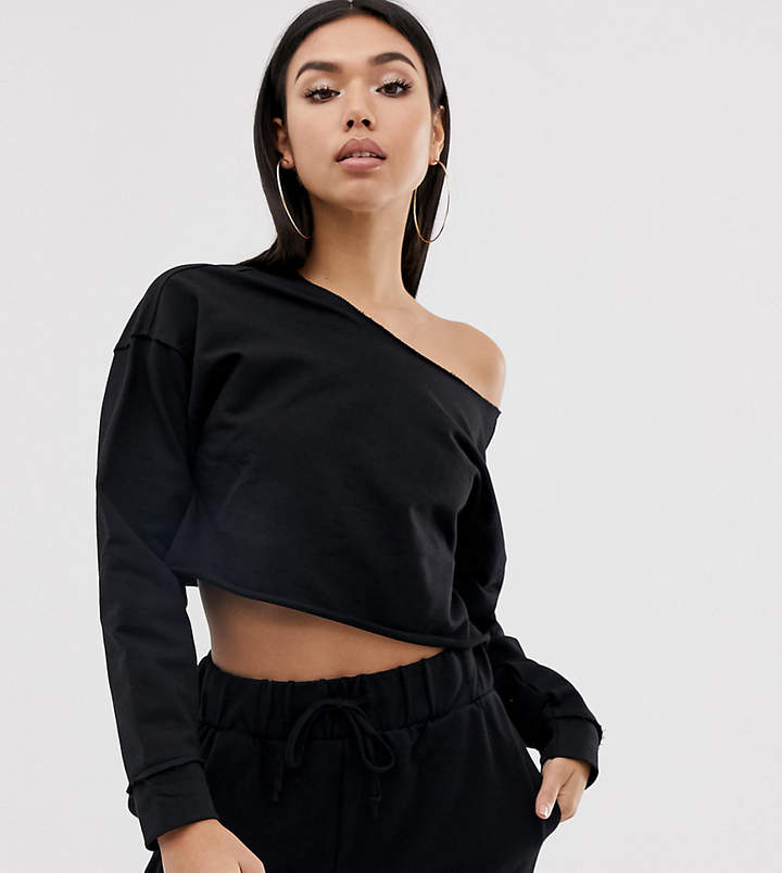 Asos Design ASOS DESIGN lounge mix & match raw hem crop sweat