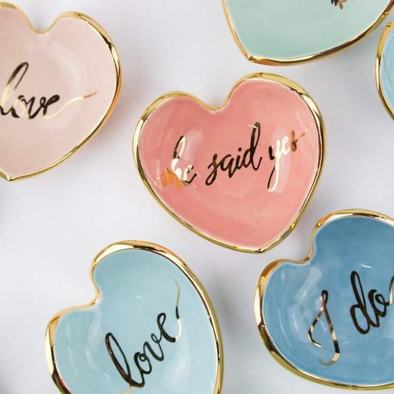 NEW Calligraphy Heart Ring Dish Love, MRS, She Said Yes , and I do- ceramic ring dish 22K gold