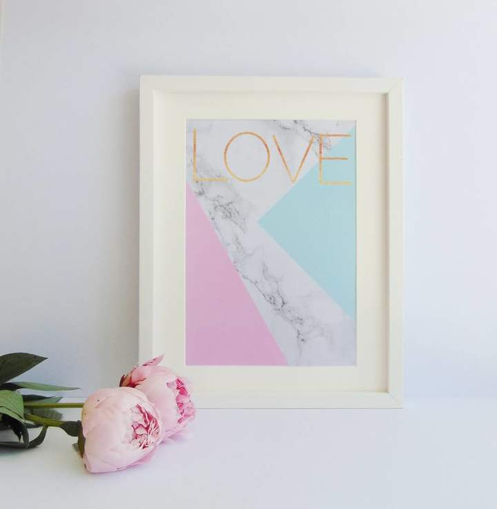 Kitty's Prints Abstract Marble And Pastel Love Print
