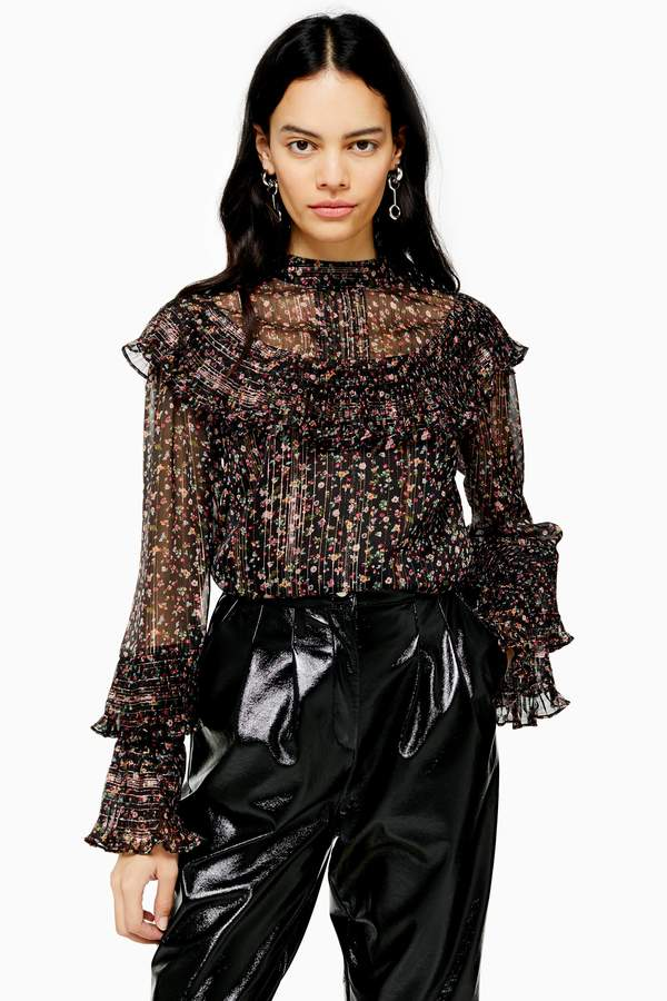 Topshop Womens Black Sheer Floral Print High Neck Blouse - Black