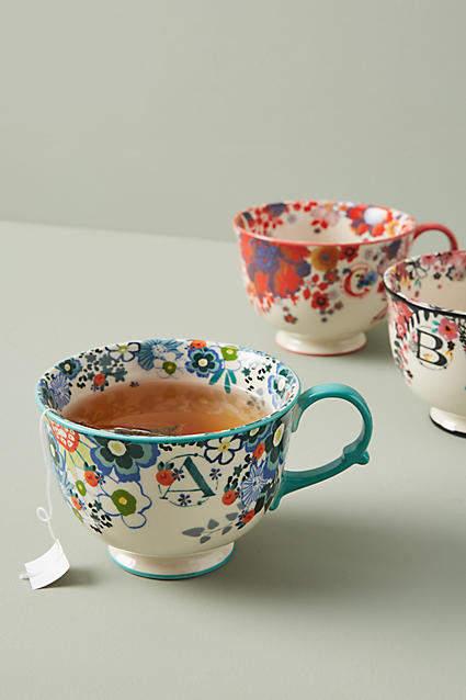 Anthropologie Tea Time Monogram Mug