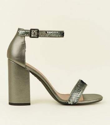 Pewter Metallic Sequin Strap Block Heels