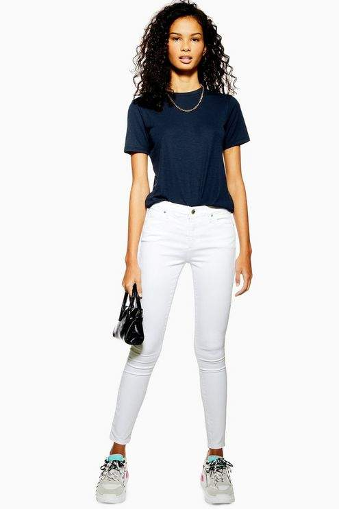 Topshop Womens White Leigh Jeans
